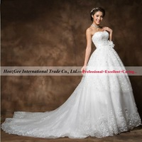 European And American socialite series sweetheart empire royal train embroidery sequins wedding dress bridal gowns HoozGee 23849