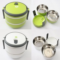 1pc/lot Portable Double Layer Stainless Steel Useful Insulation Lunch Box Keep Warm Food Container 148*148*152cm 670437