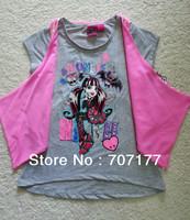 free shipping 2 piece set monster high school girl girls short sleeve summer T-shirt cotton shirts TOP tops grey / pink