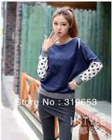 2013 Women's Autumn And Winter Korean Ladies Sweatshirts Fashion Batwing Sleeve Solid Patchwork Sweater #5687 Free Shipping