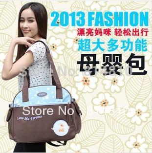 2013 fashion high-capacity mommy bag , good quality little bear baby bag ,35x14x31cm, free shipping(China (Mainland))