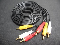 1.5M 5FT Triple 3 RCA to RCA 3RCA Composite Audio Video AV Cable Free Shipping