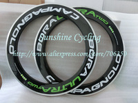 1pair, Campagnolo Bora Ultra Two white/green clincher 3K weave wheels rim , 88mm Aluminum Alloy Brake Surface Carbon wheels rim