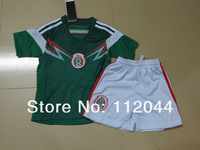 Mexico  2014  World Cup  Home  green  baby  Kids /  Youth  soccer  jersey  soccer uniform kit  Embroidery logo   Free Shipping
