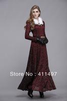 nobley thicken warm thermal fleece innner lining lace elegant floor-length winter dress with detachable fur collar