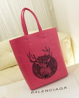 Newl!printing deer simple fashion women leather handbag leopard grain draw string two bags HK fan female shoulder bag freeship