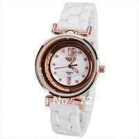 2013 New Fashion White Ceramic Quartz Watch Bariho Diamond Inlay Dress Watch Golden Case Ladies Clock Luxury Wrist Women Watches