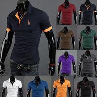 Polo black shirt men camisa shirts 2014 summer male fashion original three button little deer embroidery short-sleeve