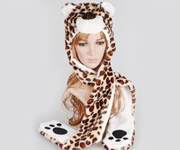 2014 Fashion style! Free Shipping Cartoon Animal Long Style Cute leopard Plush Winter Warm Party Cute Cap Hat A2709