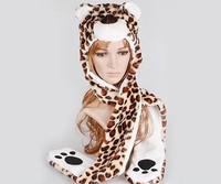 2014 Fashion style! Free Shipping Cartoon Animal Long Style Cute leopard Plush Winter Warm Party Cute Cap Hat A2709