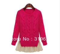 2013 Women's Autumn And Winter Korean Ladies Candy Color Fashion Long Sleeve Solid Patchwork Sweater #5688 Free Shipping