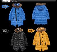 children clothing Buttons Zipper Warm hooded Long coat parka jacket outwear winter baby kid Girls boys hot 2014 new