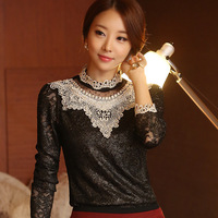 2013 Autumn Korean Style Plus Size Slim Plus Velvet Lace Blouse Tops Thick Beading Pearls Necklace Lace Gentlewomen Basic Shirt