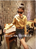2013 Women's Autumn And Winter Korean Ladies  Sweater  Fashion Long Sleeve Solid Short Hoodies  #9505 Free Shipping