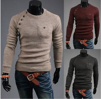 2014 новый зимние теплые защиты новых мужские свитера пуловеры мода уменьшают подходящую топы 2 цвета бесплатный / прямая поставка