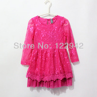 Free shipping retail new 2013 summer and spring children clothing girls lace dress with long-sleeve Princess dresses rose color