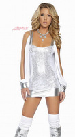 White novelty costumes sexy cutout long-sleeve shoulder strap one-piece dress 2192