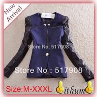 Blazer Women Winter  Jacket suit Pu Leather vintage OL Neck Patchwork Linen Jacket coat blazer outerware slim blazer Suit coat