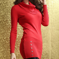 2013 women's street turn-down collar long-sleeve basic sweater 27514
