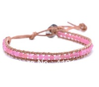 Shipping Free;Natural Pink agate bead Genuine Leather Wrap Bracelet,Adjustable Length and Alloy Oval Button