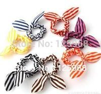 Free Shipping!2014 New Wholesale 50pcs/lot Cute Striped Rabbit Ear Headband Bows Hair Tie Band Ponytail Holder Hair Accessaries