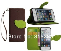 fashion leaves Magnetic buckle Wallet With Stand Leather Case For iphone 5c  free screen protector