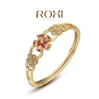 fashion yellow / rose gold plated flower charm bracelets & bangles, set with Zircon Crystal,fashion jewelry,ROXI 2050013790