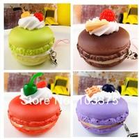2pcs/Lot Coloful Delicious Fruit Cream Cake Soft PU Bread 5.5cm Cake Bread Pendant Toy Mobile Phone Strap Free Ship Random Color