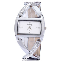 2013 Gogoey free shipping wholesale 5 colors rectangle leather fashion crystal analog quartz wrist watch women leather watch