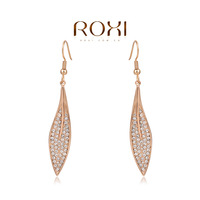 Rose Gold Plated Fashion leaf earrings,christmas gift for women,set with zircon crystal,fashion women jewelry,ROXI 2020232490