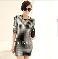 free Shipping !!!2013 Women's Autumn And Winter  Ladies  Fashion Long Sleeve Black And White Plaid Sheath Dresses  #629