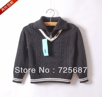 Boys 2013 new fashion arrival sweater kids turndown neck 100%cotton sweater pullover full sleeve basic sweater