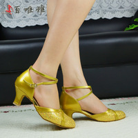 professional stone ladies ballroom latin shoes/Golden satin