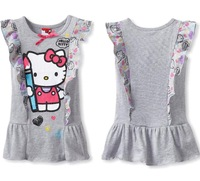 2014 summer new designer lovely kitti cartoon baby girl cotton dress with printed ruffles 5pcs/lot wholesale free shipping