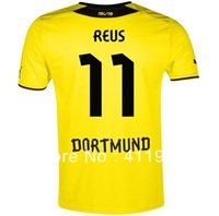 NEW!Bundesliga 13/14,Support Customize Name Number,Dortmund #11 Marco Reus short sleeve home kit,free shipping
