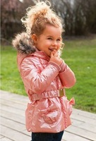 2014 free shipping Retail 1 set Top Quality baby girl thick cotton coat hoodies pink jacket with belt child long sleeve outwear