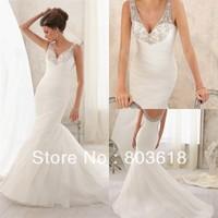 New Fashion!Stunning 2014 Mermaid Wedding Dress V Neck Backless Chapel Train  Beads Zipper  Bridal Gown Custom Made!