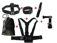 F05746-C Shoulder & Head & Helmet Strap Belt Mount + Wifi Velcro Wrist Band W/ Storage Bag for GoPro Hero 3 2+freeshipping