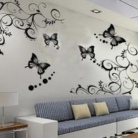 70*50cm Black Vine Flower Butterfly Removable Wall Sticker Home Decor Art Decal