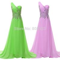 2014 Free Shipping 1pc/lot Beautiful Grace Karin 7Colors Chiffon One shoulder Beaded Long Evening Formal Dress CL4506