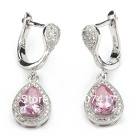 Classic Wholesale Pink Crystal Micro inlays jewelry 925 Silver Fashion Earrings R3229