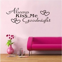 Black ALWAYS KISS ME GOODNIGHT WALL DECALS Bedroom Stickers Deco Home Decor