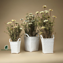 Free  shipping White marble stone alondra set vase flower artificial flowers dried flowers woven pattern(China (Mainland))