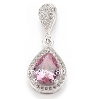 Pink crystal beautiful Fashion Micro inlays jewelry Romantic 925 Silver  Pendants R3228