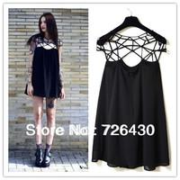 Drop shipping wholesale New Fashion women sexy Casual Dresses Black of Hollow Out  girl chiffon mini Dress