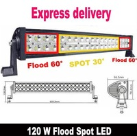 Free EMS/DHL 120W 21.5inch Led Spot Flood Combo Alloy Work Bar Diving Light Lamp OffRoad 4WD Truck Boat