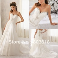 Luxurious Sparkling 2014 A Line Wedding Dress Sweetheart Lace Up Sleeveless Chapel Train Beads  Bridal Ball Gown Custom Made!
