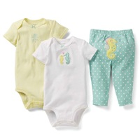 Wholesale 6 sets/lot, Carters Baby Girls Sea Horse Model Long&Short Sleeve Bodysuit +Pants 3-piece Set , Free Shipping IN STOCK