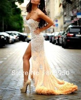 Custom Made Vestidos De Fiesta Sexy Sweetheart Spaghetti Strap Luxury Crystal Beaded Mermaid Chiffon Long Prom Dress 2014 New