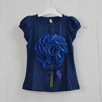 B2W2 brand 3D Flower korea design 5pcs / lot free shipping 2014 new design navy blue color flower t-shirts